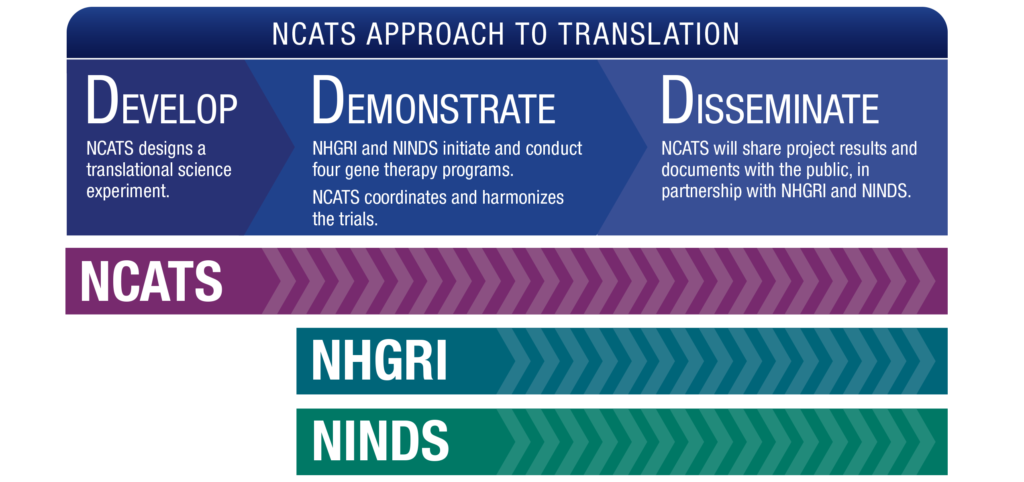 NCATS Approach to Translation: Develop, Demonstrate, Disseminate. Develop: NCATS designs a translational science experiment. Demonstrate: NHGRI and NINDS initiate and conduct four gene therapy programs. NCATS coordinates and harmonizes the trials. Disseminate: NCATS will publish all communications with the FDA, in partnership with NHGRI and NINDS.